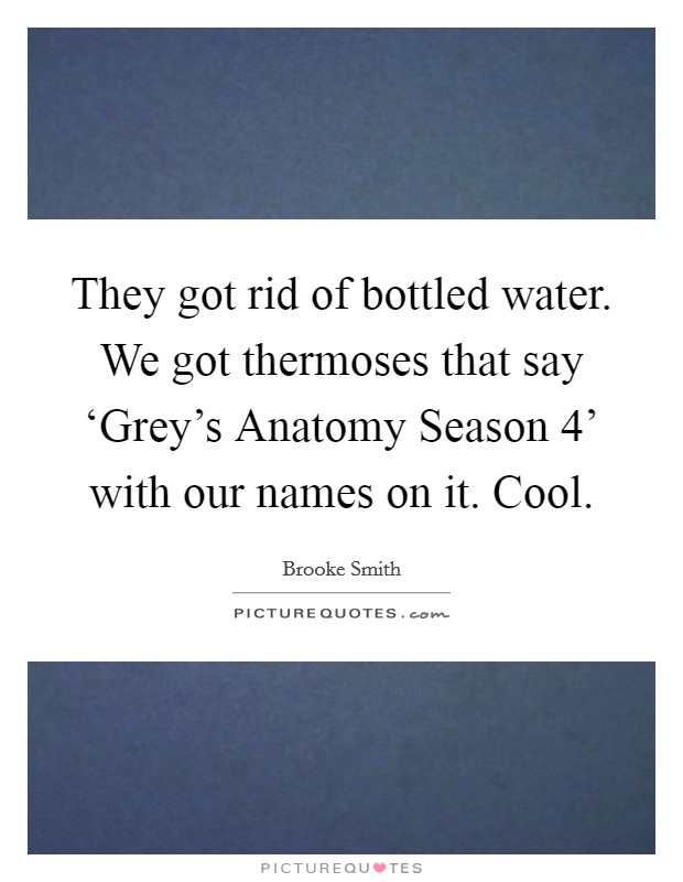 They got rid of bottled water. We got thermoses that say 'Grey's Anatomy Season 4' with our names on it. Cool Picture Quote #1