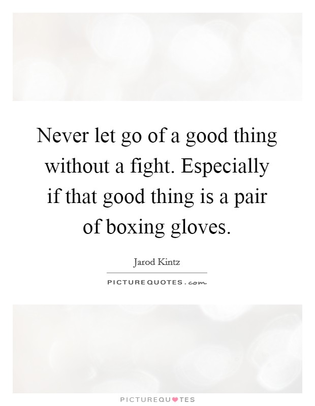 Never let go of a good thing without a fight. Especially if that good thing is a pair of boxing gloves Picture Quote #1