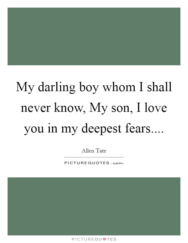 My darling boy whom I shall never know, My son, I love you in my deepest fears Picture Quote #1
