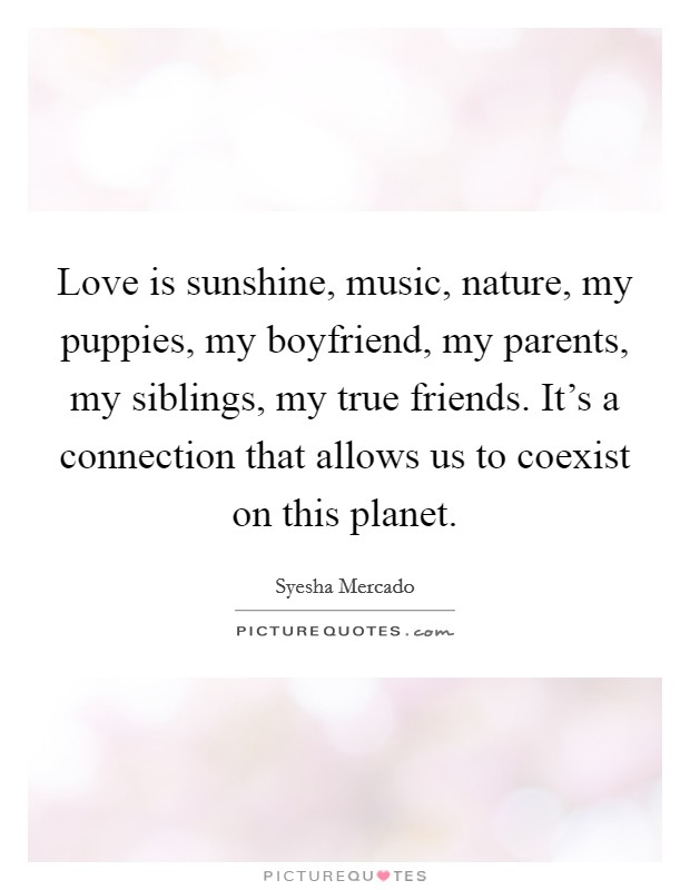 Love is sunshine, music, nature, my puppies, my boyfriend, my parents, my siblings, my true friends. It's a connection that allows us to coexist on this planet Picture Quote #1