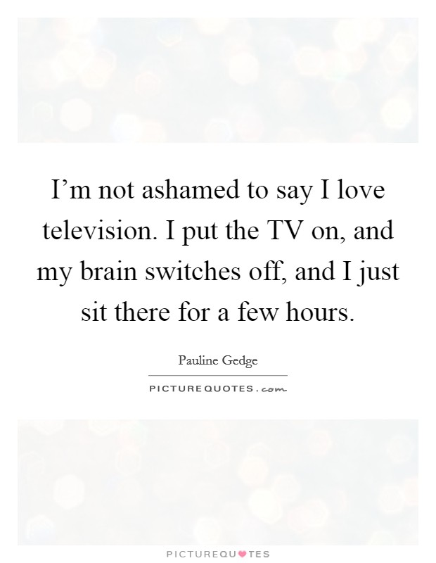 I'm not ashamed to say I love television. I put the TV on, and my brain switches off, and I just sit there for a few hours. Picture Quote #1