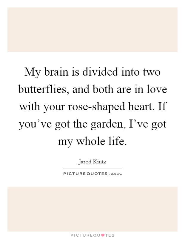 My brain is divided into two butterflies, and both are in love with your rose-shaped heart. If you've got the garden, I've got my whole life Picture Quote #1