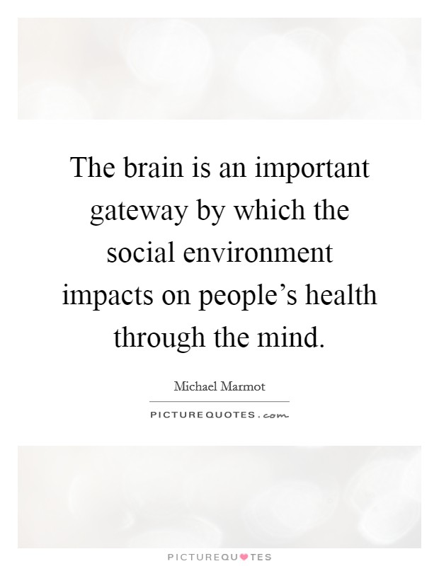 The brain is an important gateway by which the social environment impacts on people's health through the mind Picture Quote #1