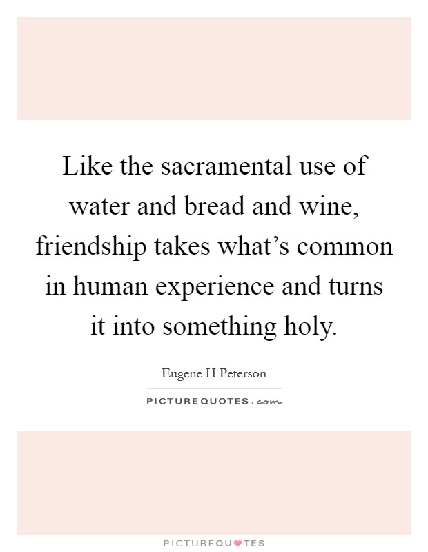 Like the sacramental use of water and bread and wine, friendship takes what's common in human experience and turns it into something holy Picture Quote #1
