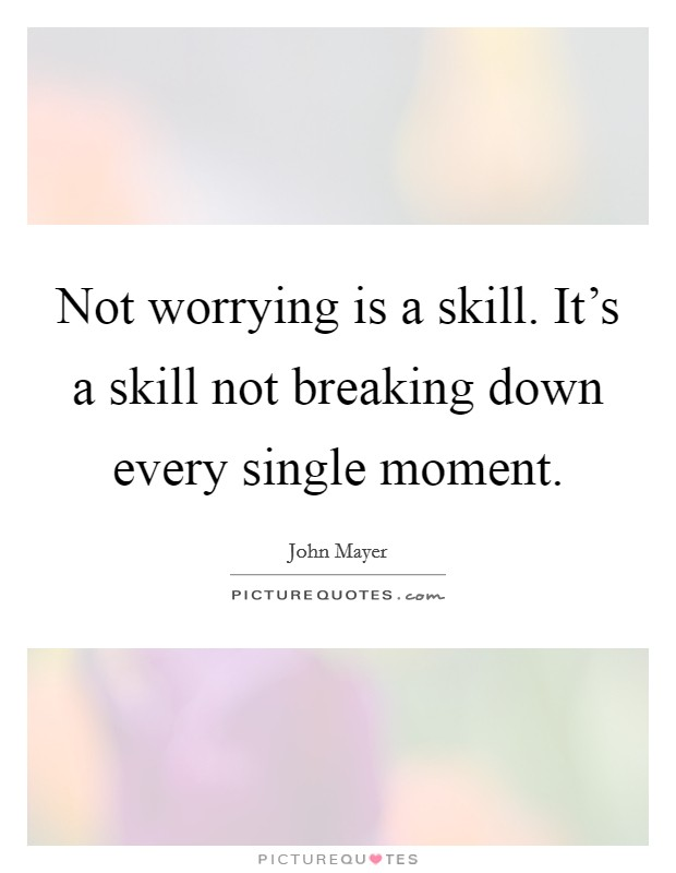 Not worrying is a skill. It's a skill not breaking down every single moment Picture Quote #1