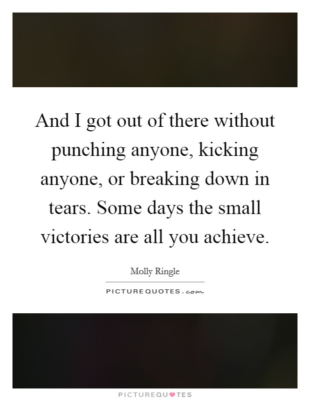 And I got out of there without punching anyone, kicking anyone, or breaking down in tears. Some days the small victories are all you achieve Picture Quote #1
