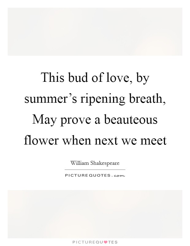 This bud of love, by summer's ripening breath, May prove a beauteous flower when next we meet Picture Quote #1
