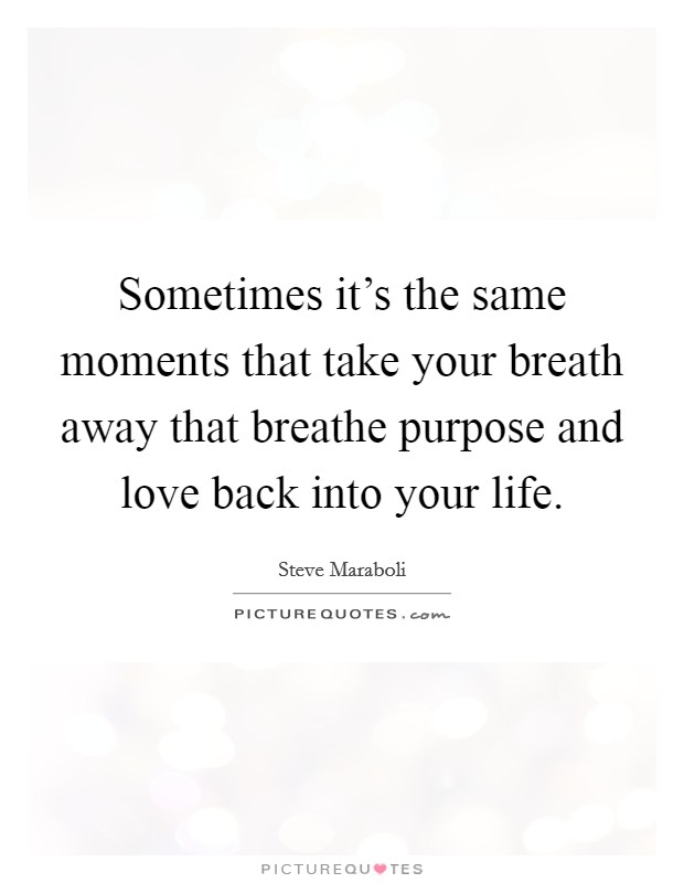 Sometimes it's the same moments that take your breath away that breathe purpose and love back into your life Picture Quote #1