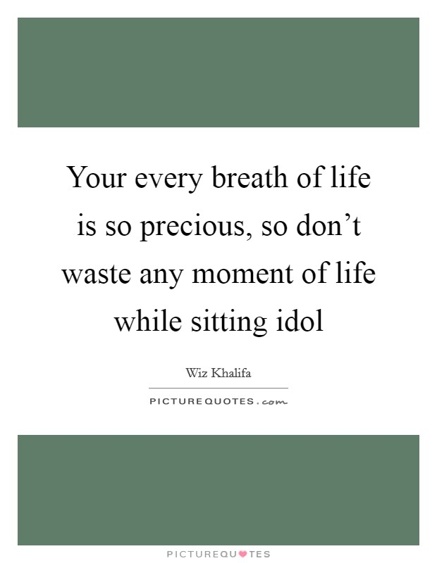 Your every breath of life is so precious, so don't waste any moment of life while sitting idol Picture Quote #1