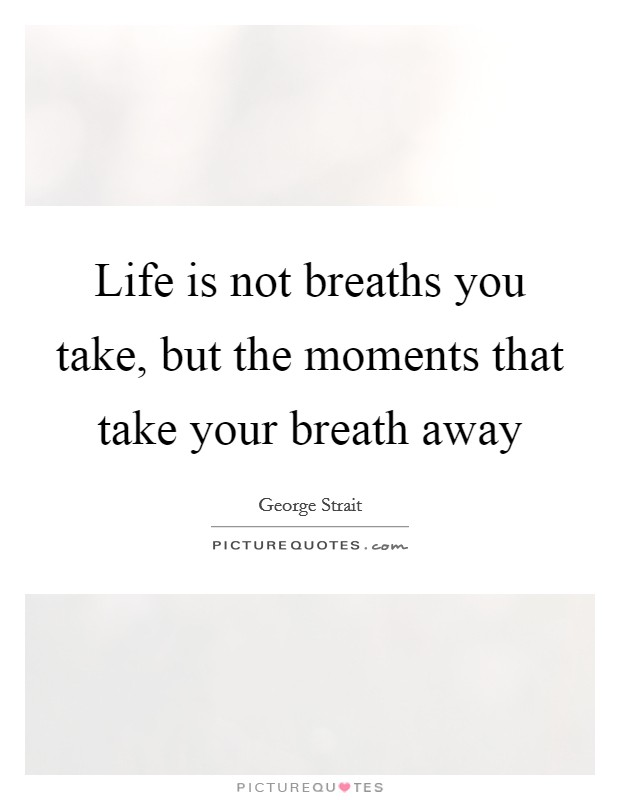 Life is not breaths you take, but the moments that take your breath away Picture Quote #1
