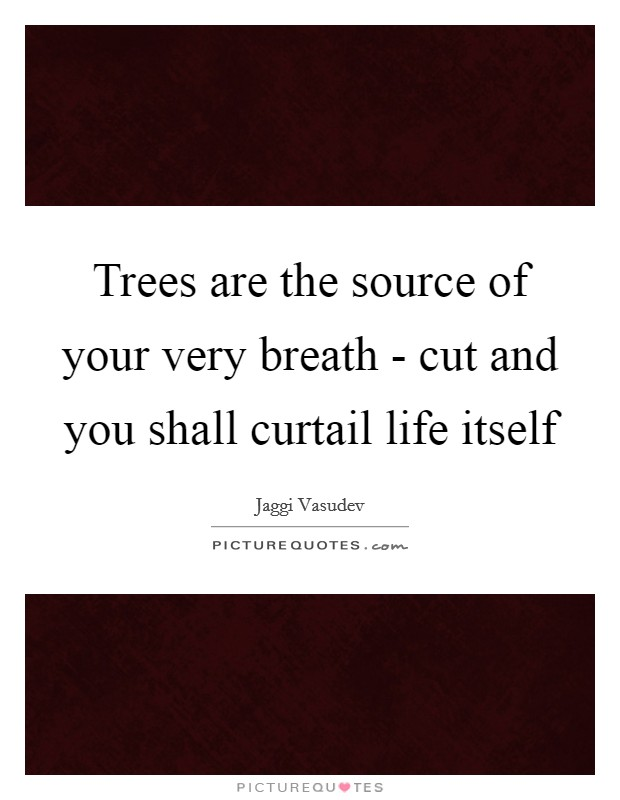 Trees are the source of your very breath - cut and you shall curtail life itself Picture Quote #1