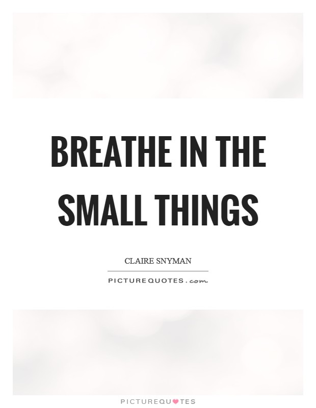 Breathe in the small things Picture Quote #1