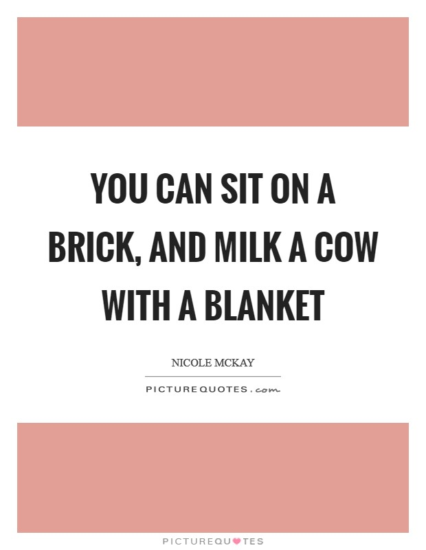 You can sit on a brick, and milk a cow with a blanket Picture Quote #1