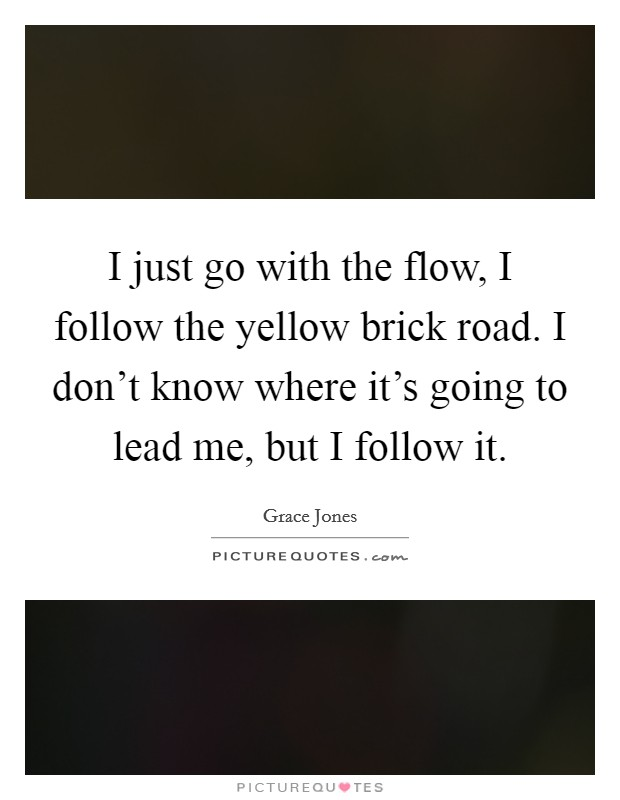 I just go with the flow, I follow the yellow brick road. I don't know where it's going to lead me, but I follow it. Picture Quote #1