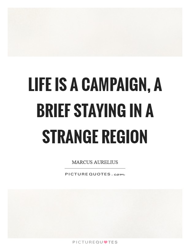 Life is a campaign, a brief staying in a strange region Picture Quote #1