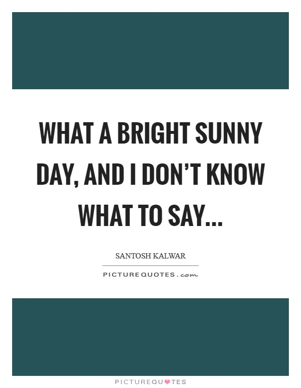 What a bright sunny day, and I don't know what to say... Picture Quote #1