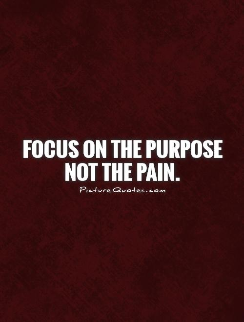 Focus on the purpose not the pain Picture Quote #1