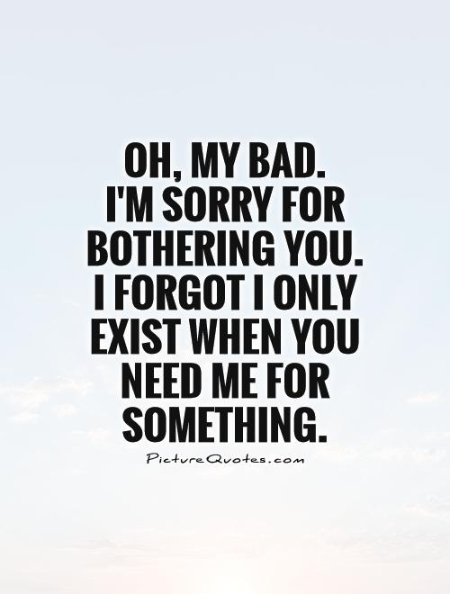 Oh, my bad.  I'm sorry for bothering you.  I forgot I only exist when you need me for something Picture Quote #1