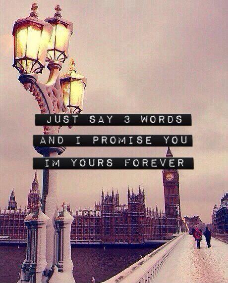 Just say 3 words and I promise you I'm yours forever Picture Quote #1