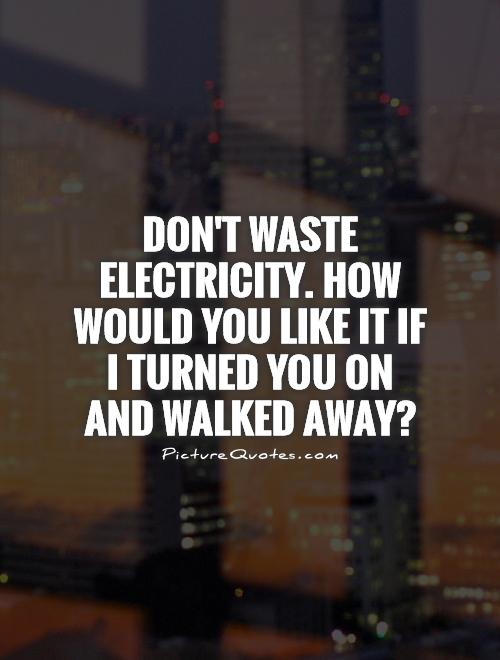 Don't waste electricity. How would you like it if I turned you on and walked away? Picture Quote #1