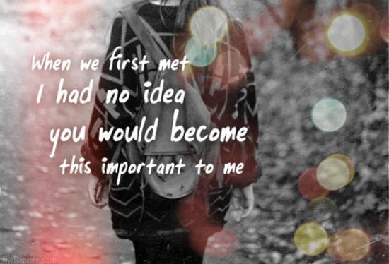 When we first met I had no idea you would become this important to me Picture Quote #1