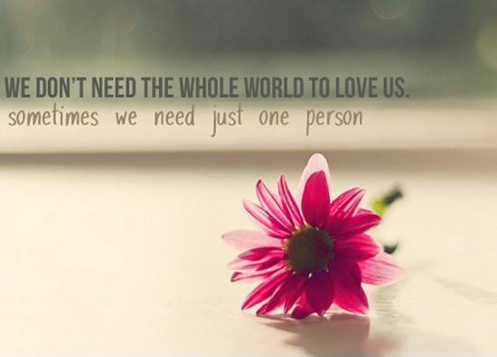 We don't need the whole world to love us, sometimes we need just one person Picture Quote #1