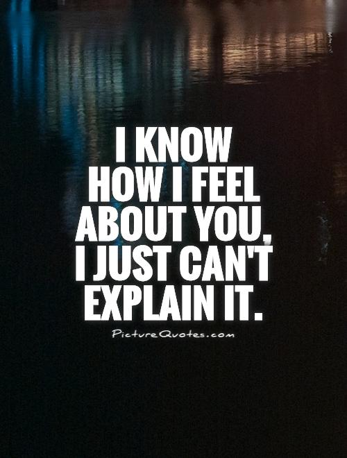 I know  how I feel about you, I just can't explain it Picture Quote #1