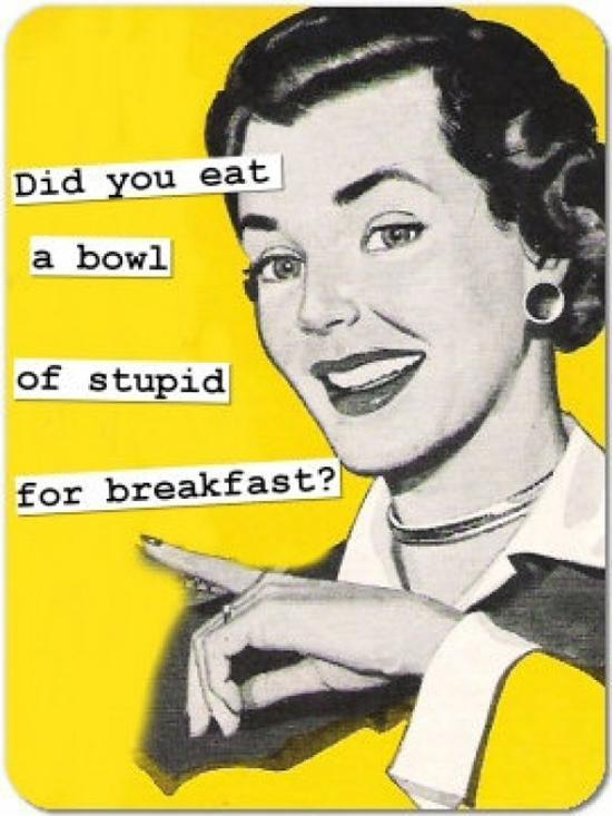 Did you eat a bowl of stupid for breakfast? Picture Quote #1