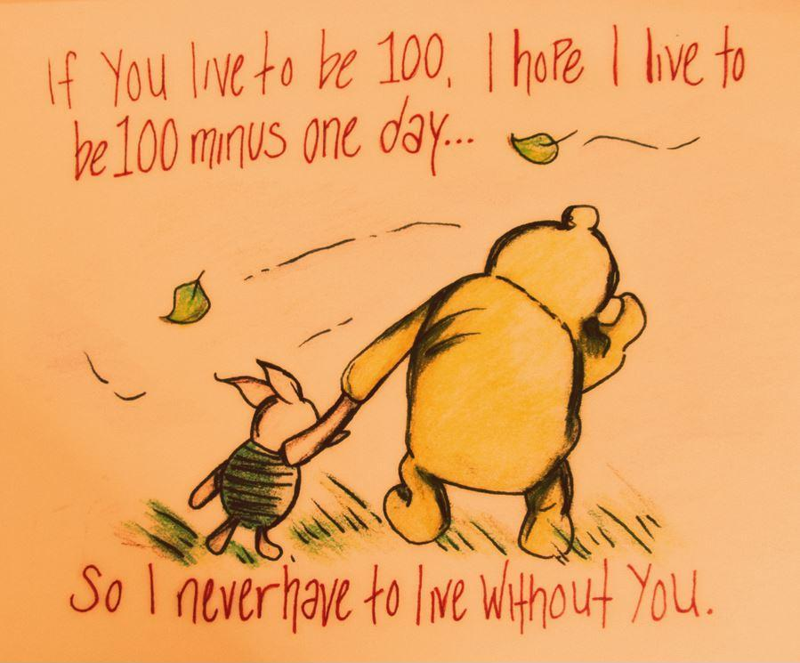 If you live to be 100, I hope I live to be 100 minus 1 day, so I never have to live without you Picture Quote #1