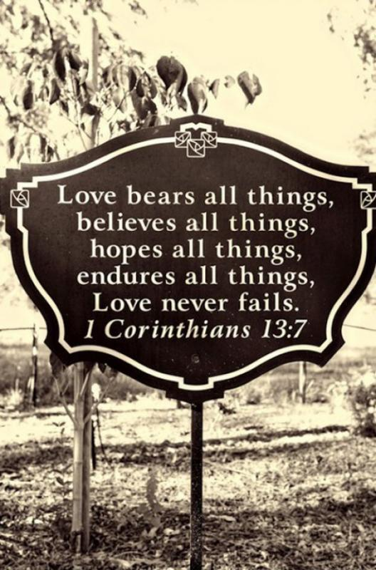 Love bears all things, believes all things, hopes all things, endures all things. Love never fails Picture Quote #1