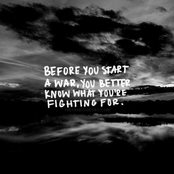 Before you start a war, you better know what you're fighting for Picture Quote #1
