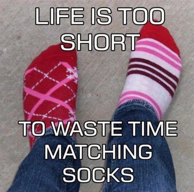 Life is too short to waste time matching socks Picture Quote #1