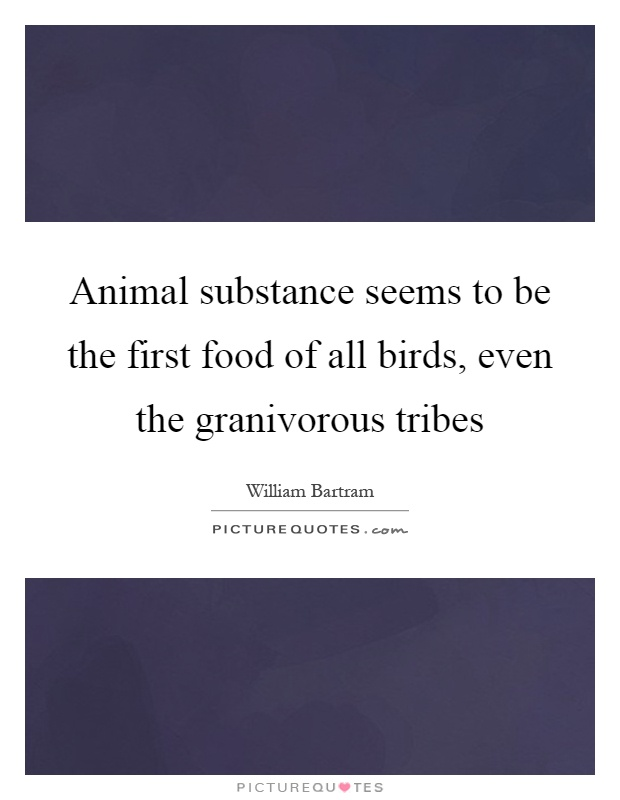 Animal substance seems to be the first food of all birds, even the granivorous tribes Picture Quote #1