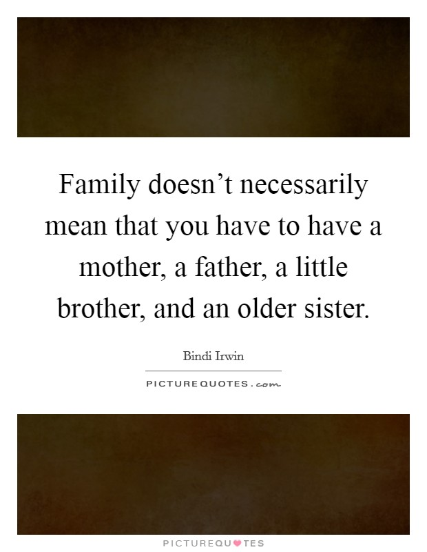 Family doesn't necessarily mean that you have to have a mother, a father, a little brother, and an older sister Picture Quote #1