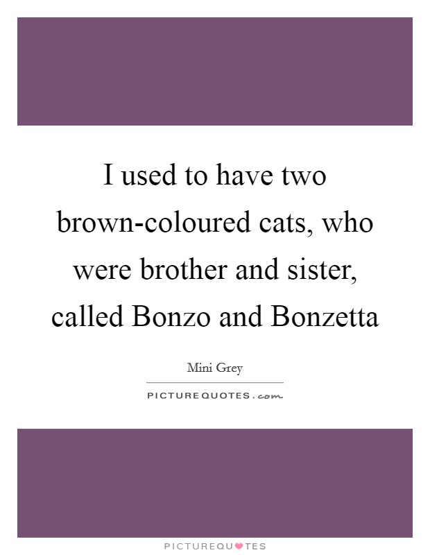 I used to have two brown-coloured cats, who were brother and sister, called Bonzo and Bonzetta Picture Quote #1