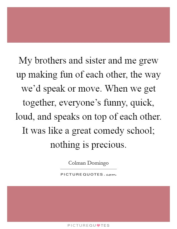 My brothers and sister and me grew up making fun of each other, the way we'd speak or move. When we get together, everyone's funny, quick, loud, and speaks on top of each other. It was like a great comedy school; nothing is precious Picture Quote #1