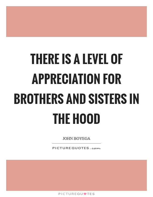 There is a level of appreciation for brothers and sisters in the hood Picture Quote #1