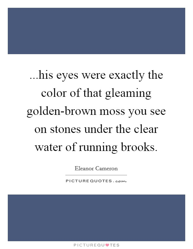 ...his eyes were exactly the color of that gleaming golden-brown moss you see on stones under the clear water of running brooks Picture Quote #1