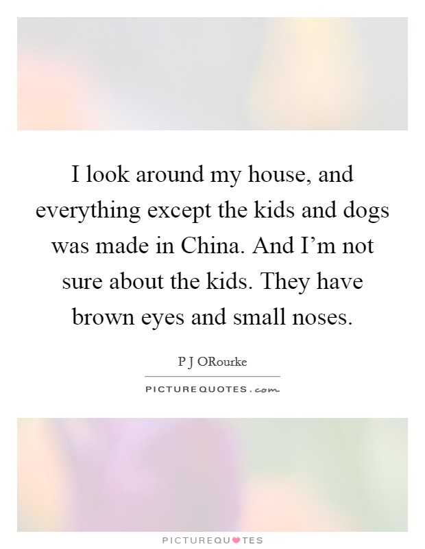I look around my house, and everything except the kids and dogs was made in China. And I'm not sure about the kids. They have brown eyes and small noses Picture Quote #1