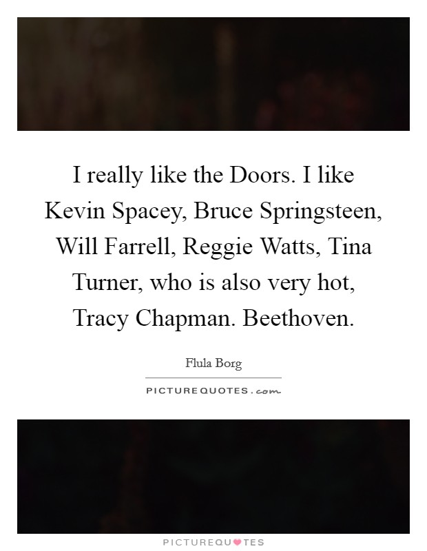 I really like the Doors. I like Kevin Spacey, Bruce Springsteen, Will Farrell, Reggie Watts, Tina Turner, who is also very hot, Tracy Chapman. Beethoven Picture Quote #1
