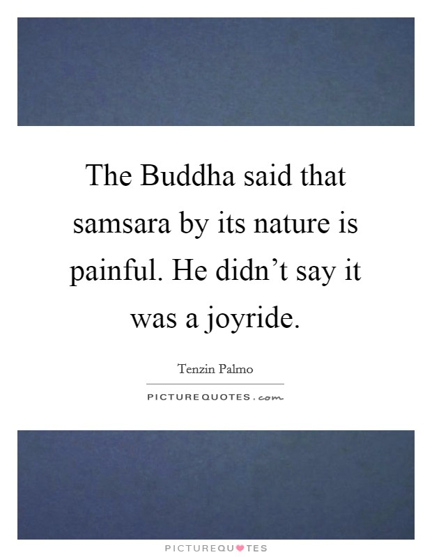 The Buddha said that samsara by its nature is painful. He didn't say it was a joyride Picture Quote #1