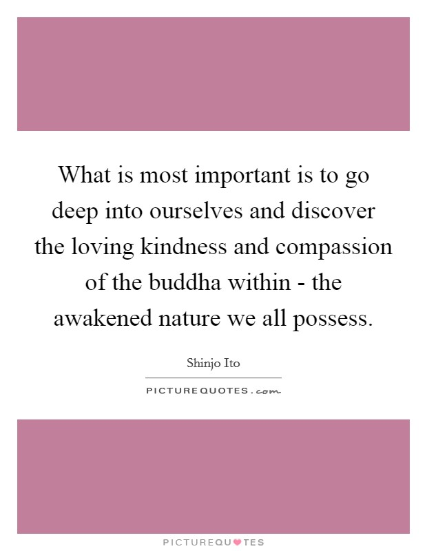 What is most important is to go deep into ourselves and discover the loving kindness and compassion of the buddha within - the awakened nature we all possess. Picture Quote #1