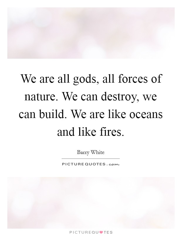 We are all gods, all forces of nature. We can destroy, we can build. We are like oceans and like fires Picture Quote #1