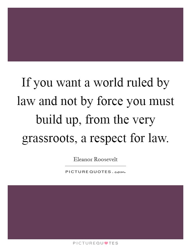 If you want a world ruled by law and not by force you must build up, from the very grassroots, a respect for law Picture Quote #1