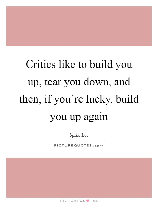 Critics like to build you up, tear you down, and then, if you're lucky, build you up again Picture Quote #1
