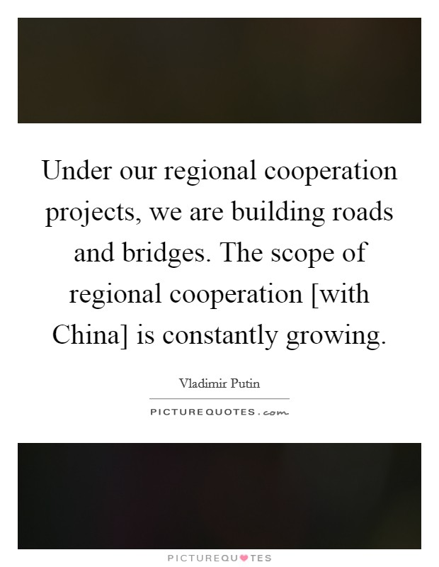 Under our regional cooperation projects, we are building roads and bridges. The scope of regional cooperation [with China] is constantly growing Picture Quote #1