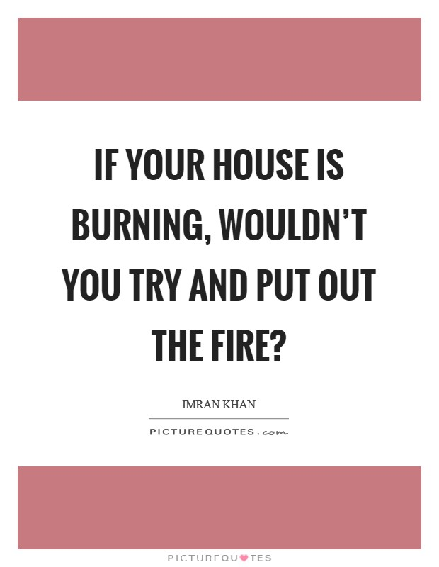 If your house is burning, wouldn't you try and put out the fire? Picture Quote #1