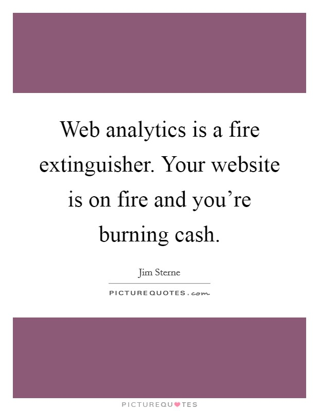 Web analytics is a fire extinguisher. Your website is on fire and you're burning cash Picture Quote #1