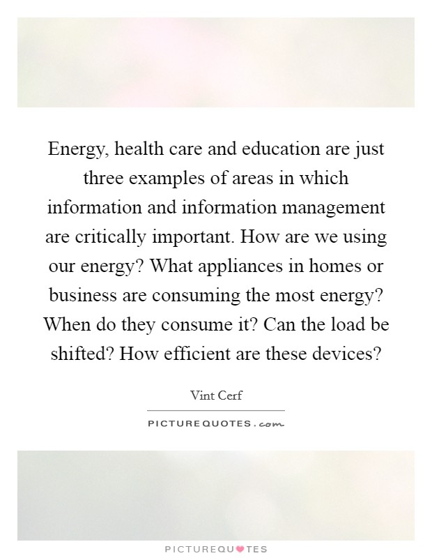 Energy, health care and education are just three examples of areas in which information and information management are critically important. How are we using our energy? What appliances in homes or business are consuming the most energy? When do they consume it? Can the load be shifted? How efficient are these devices? Picture Quote #1
