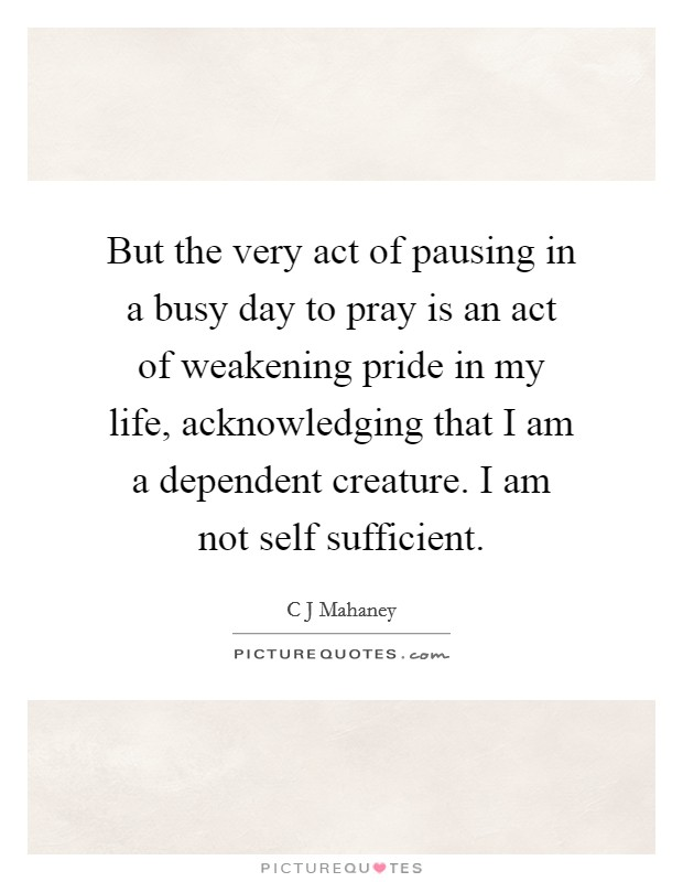 But the very act of pausing in a busy day to pray is an act of weakening pride in my life, acknowledging that I am a dependent creature. I am not self sufficient Picture Quote #1